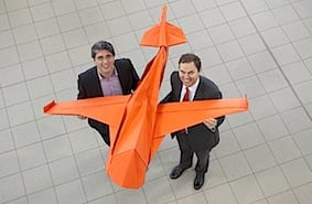 EasyJet's UK Commercial Manager Hugh Aitkin and LSA MD Alastair Welch with giant oragami plane r