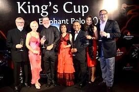 Enjoying this year's King's Cup elephant polo tournament in Hua Hin, Thailand, were Dr Alexander Paufler, Mrs Paufler, Bill Heinecke, Chris Rajakarier, Dillip Rajakarier, Chin Chelliah Bottinelli, and Oliviero Bottinelli