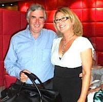 ITAA golf tournament winner Joe Duffy receives his prize from Trish O'Leary of sponsors Amadeus Ireland