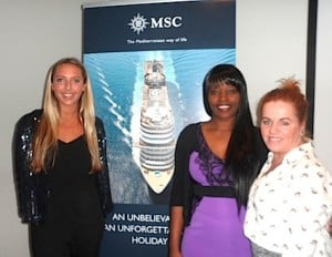 Launching the MSC Cruises 2014 brochure to travel media at the Marker Hotel, Dublin, were Emma Howard-Smith, Account Executive, Four.BGB Communications; Isabella Shadaya, PR-Media Relations, MSC Cruises; and Rebecca Kelly, Business Development Manager Ireland, MSC Cruises