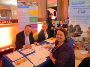 Margaret McGaughey,Liberty Travel,meets with Richard Greenaway and Deirdre O'Brien from Mercury Direct.