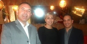 Sami Tounsi, Trade Executive, Tunisian National Tourist Office UK & Ireland, with Rosie Thornton and Can Deniz of Just Sunshine