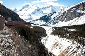 Glacier Skywalk's 38mm-thick glass walkway extends 35 metres from the cliff, 280 metres above the valley floor