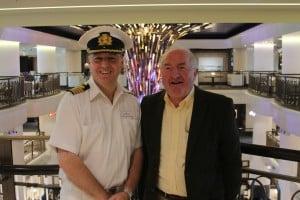 Capt.Paul Brown  greets Michael Flood-Editor of ITTN on-board Britannia.