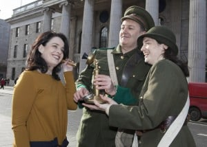 No Repro Fee 02/02/2016An Post and Shannon Heritage announced that all is on track for the opening of the new €7million An Post GPO Witness History visitor attraction set to open this Easter to commemorate the events of Easter 1916.While the centre is in its final stages of construction, the exciting elements that will be part of this immersive and interactive permanent visitor centre were unveiled by Aline FitzGerald, (left) General Manager of GPO Witness History with Malachy McKenna and Niamh Ní Riain, two of the team at GPO Witness History. An Post GPO Witness History is an immersive, interactive visitor attraction bringing history to life though technology, video, sound and authentic artefacts on loan from various donors.Photo: Peter Houlihan