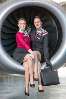 Picture shows from left  CityJet cabin crew Roisin Lally; and Lauren Fisk .