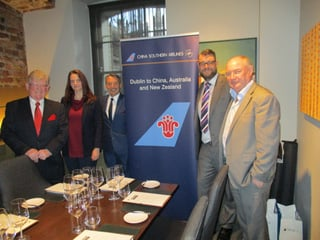 Paul Nolan,APG;Lana Bobriseva,China Southern;Paul Weir,APG;Paul Appleby,Flight Centre; and David O'grady,e-travel at the lunch.